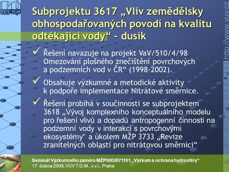 """Subprojektu 3617 """"Vliv zemědělsky obhospodařovaných povodí na kvalitu odtékající vody – dusík"""