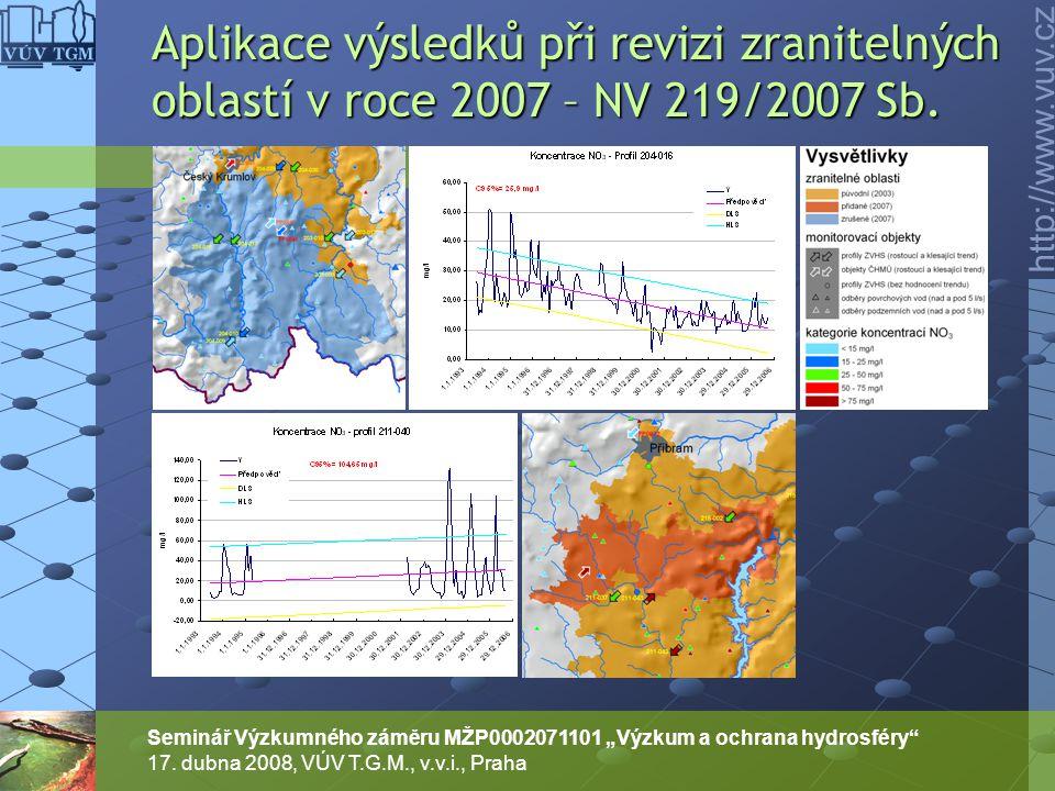 Aplikace výsledků při revizi zranitelných oblastí v roce 2007 – NV 219/2007 Sb.