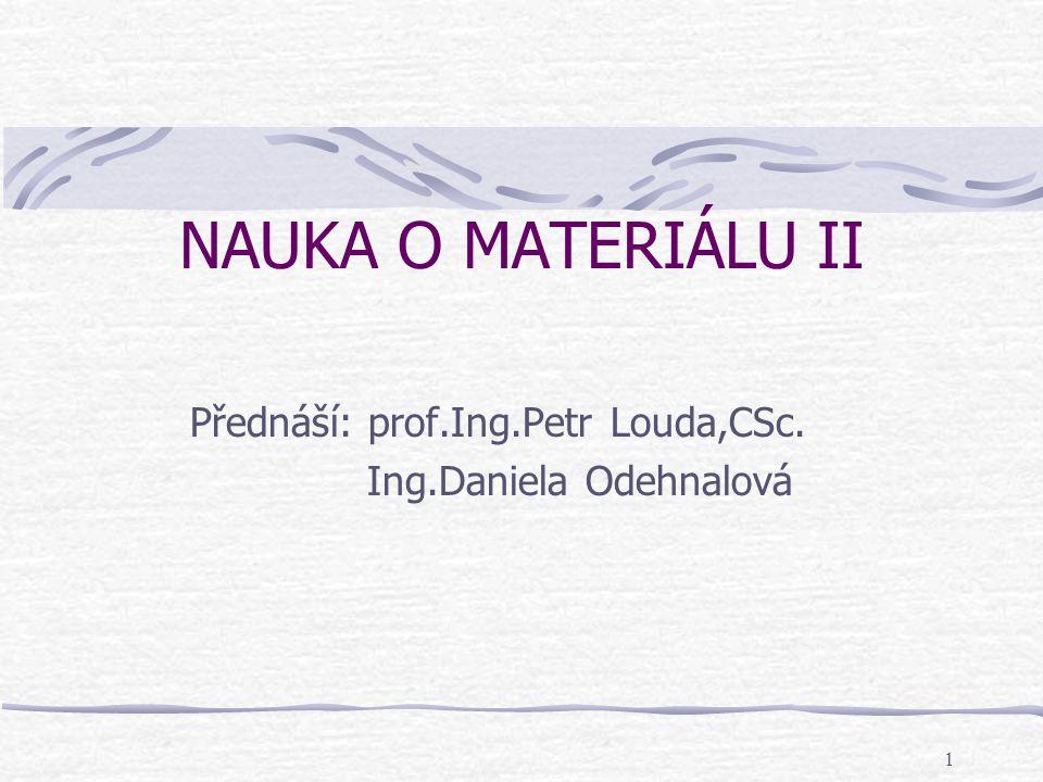 Přednáší: prof.Ing.Petr Louda,CSc. Ing.Daniela Odehnalová