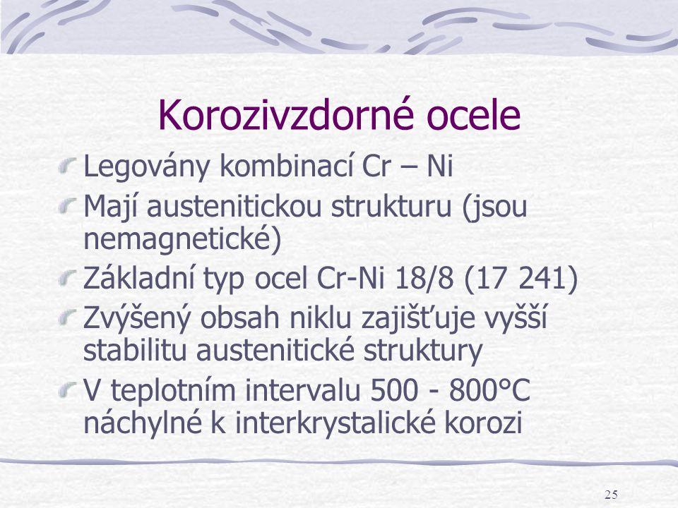 Korozivzdorné ocele Legovány kombinací Cr – Ni