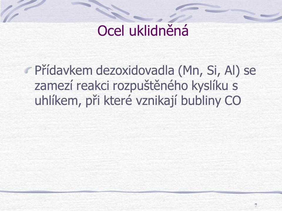 Ocel uklidněná Přídavkem dezoxidovadla (Mn, Si, Al) se zamezí reakci rozpuštěného kyslíku s uhlíkem, při které vznikají bubliny CO.