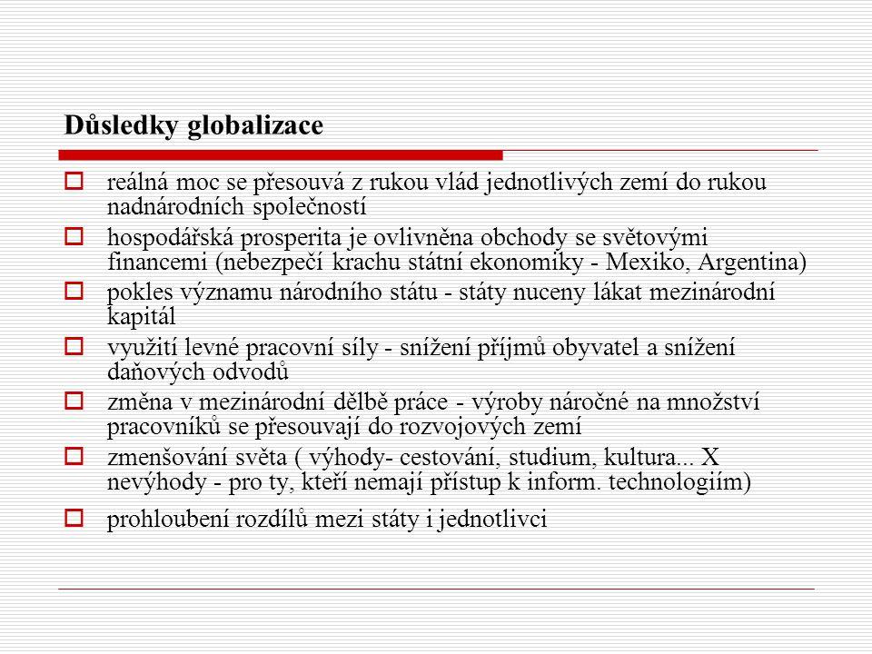 Důsledky globalizace reálná moc se přesouvá z rukou vlád jednotlivých zemí do rukou nadnárodních společností.