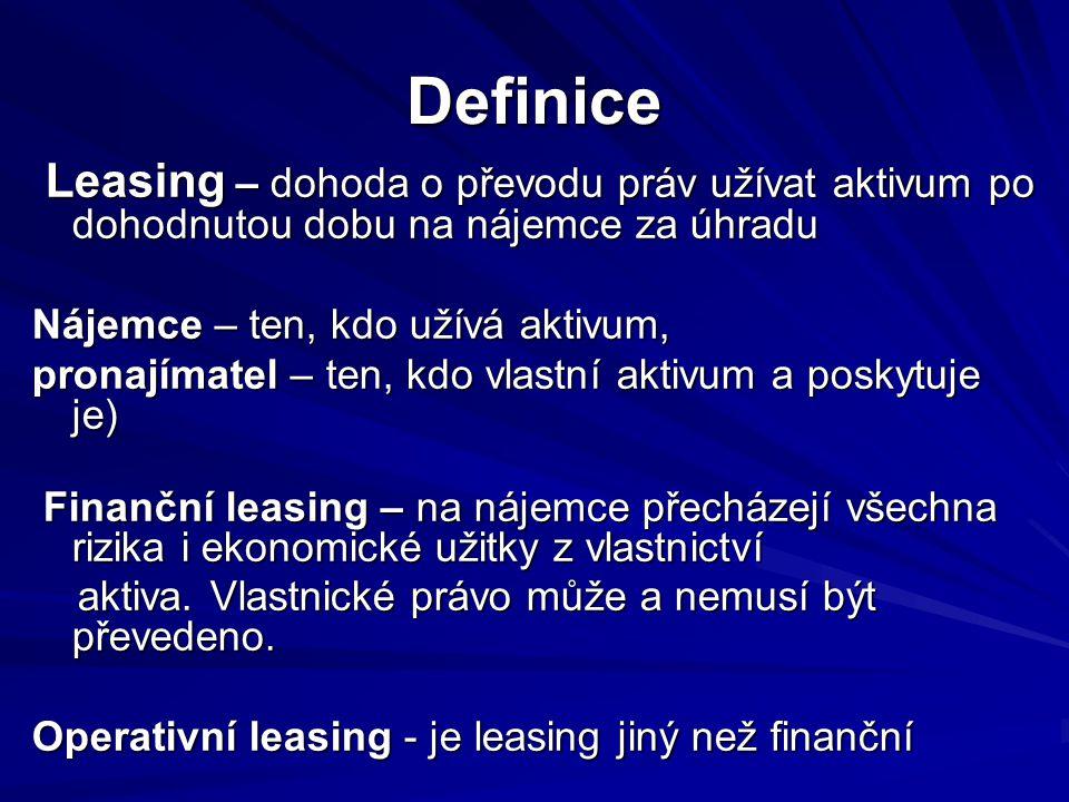 Definice Leasing – dohoda o převodu práv užívat aktivum po dohodnutou dobu na nájemce za úhradu. Nájemce – ten, kdo užívá aktivum,