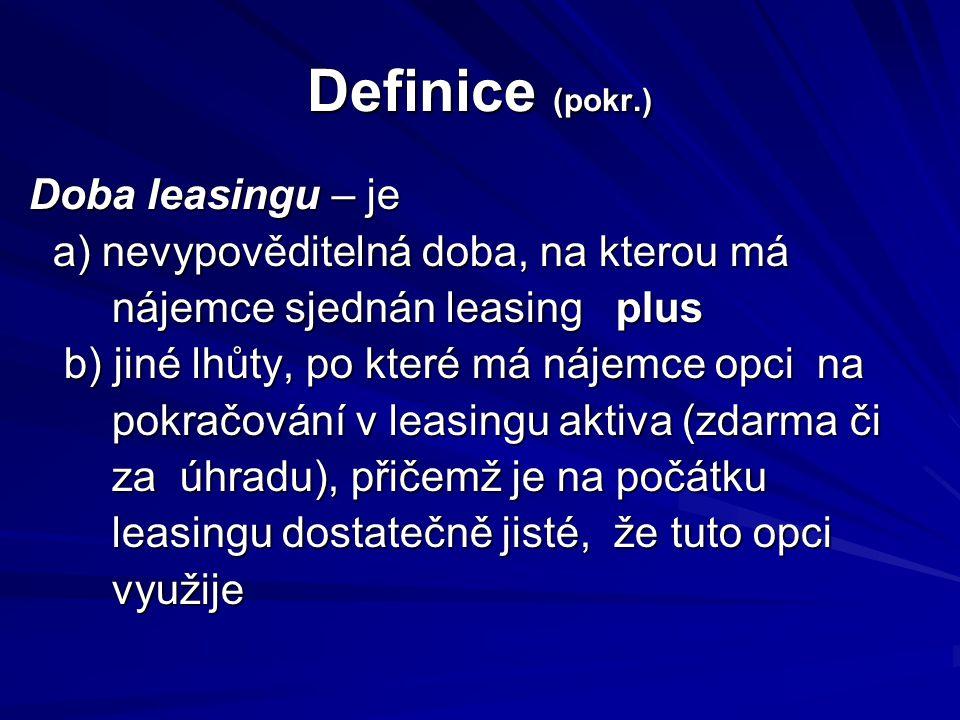 Definice (pokr.) Doba leasingu – je