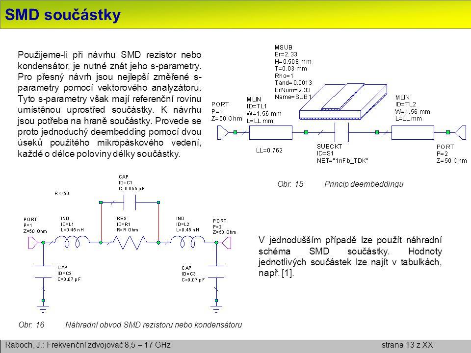 Obr. 16 Náhradní obvod SMD rezistoru nebo kondensátoru