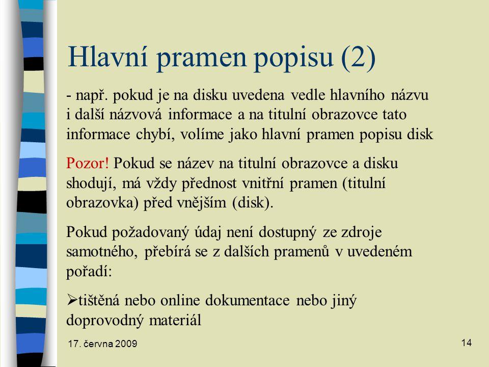 Hlavní pramen popisu (2)