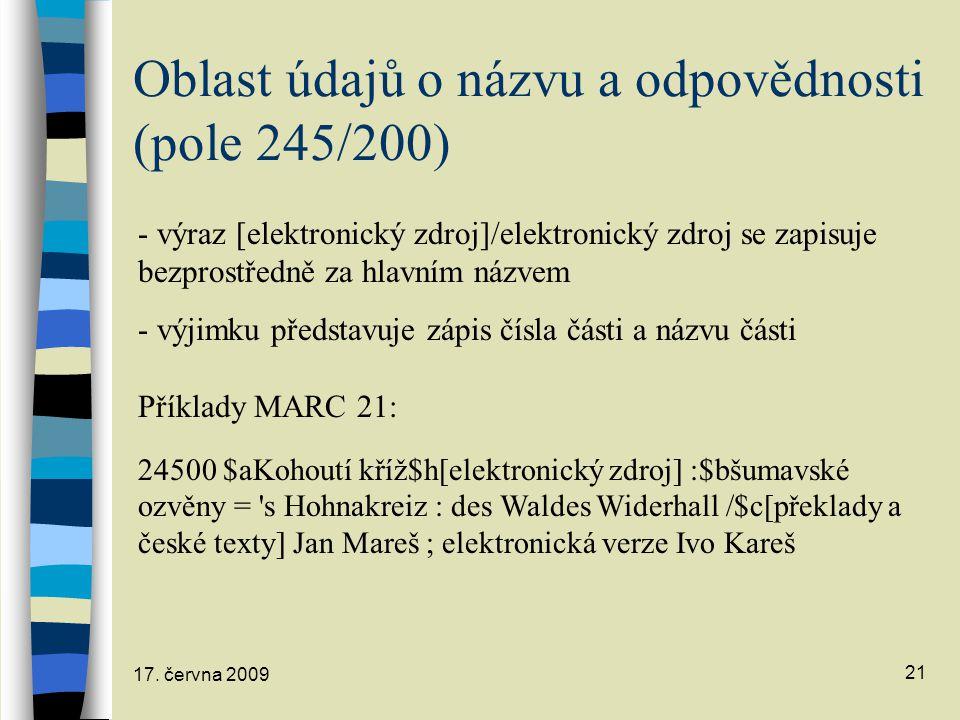Oblast údajů o názvu a odpovědnosti (pole 245/200)