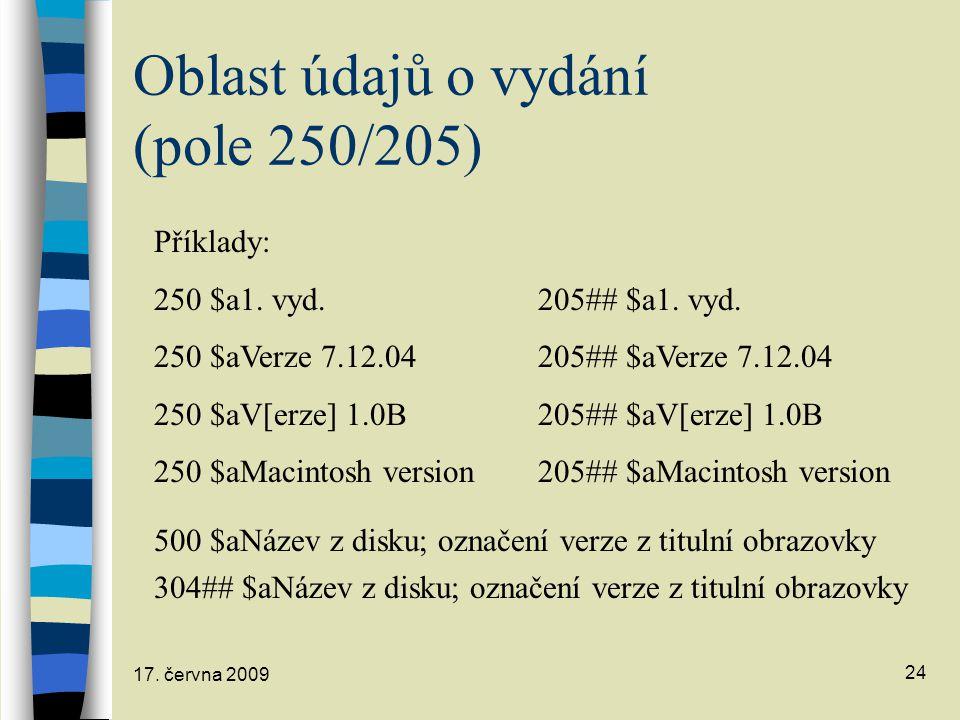 Oblast údajů o vydání (pole 250/205)