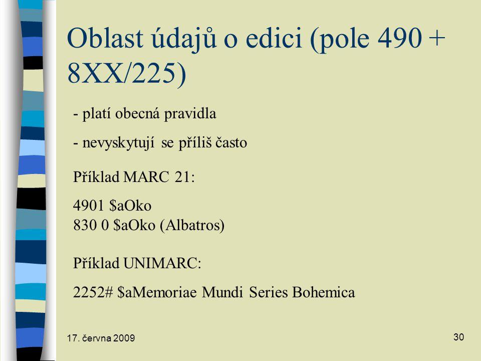 Oblast údajů o edici (pole 490 + 8XX/225)