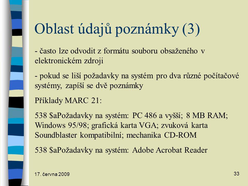 Oblast údajů poznámky (3)