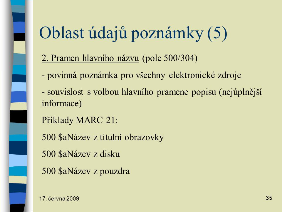 Oblast údajů poznámky (5)