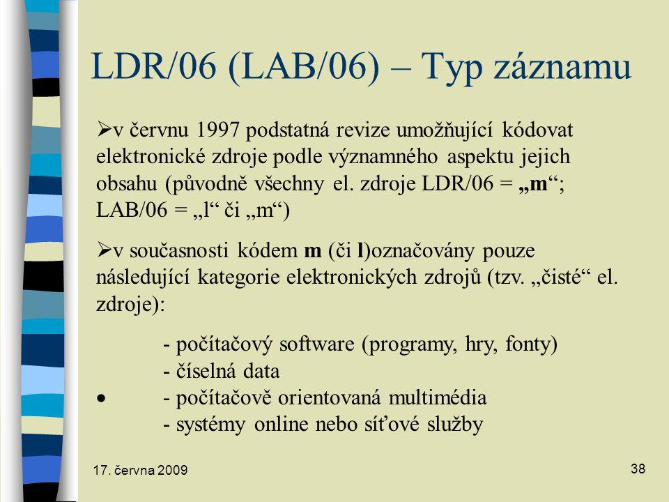 LDR/06 (LAB/06) – Typ záznamu