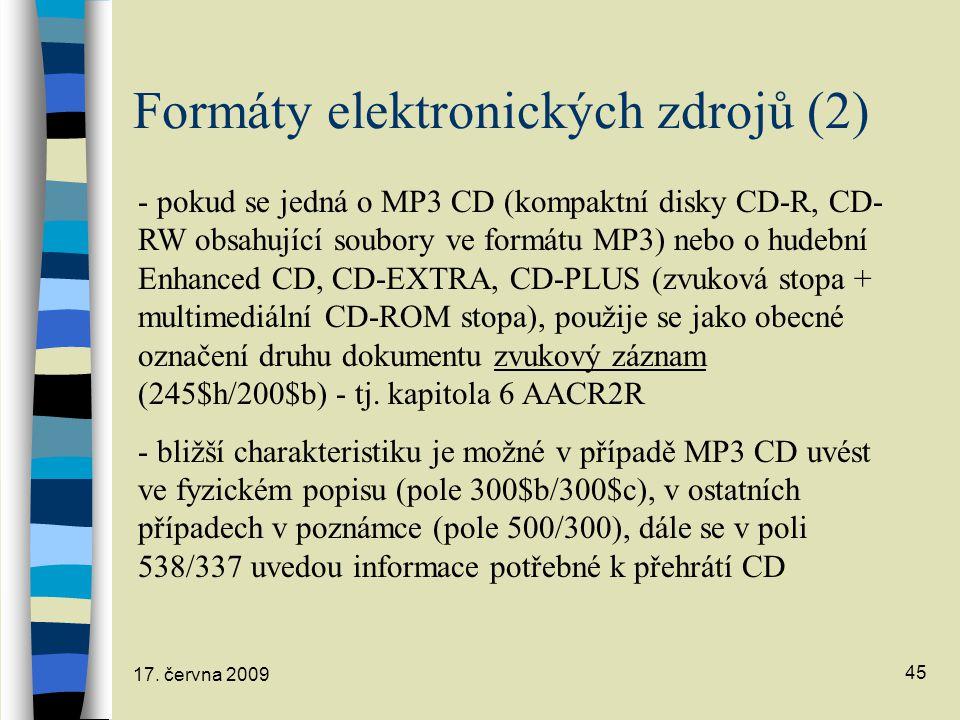 Formáty elektronických zdrojů (2)