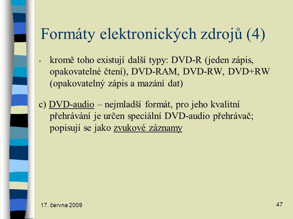 Formáty elektronických zdrojů (4)
