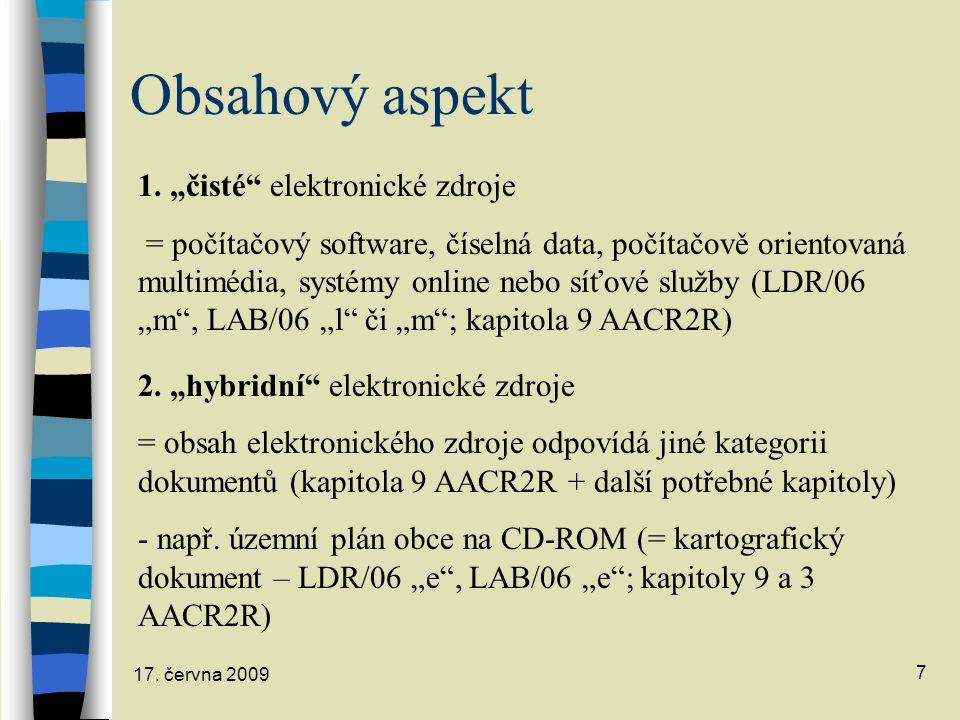 "Obsahový aspekt 1. ""čisté elektronické zdroje"