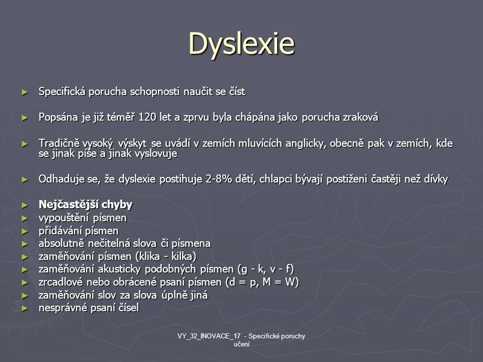 VY_32_INOVACE_17 - Specifické poruchy učení