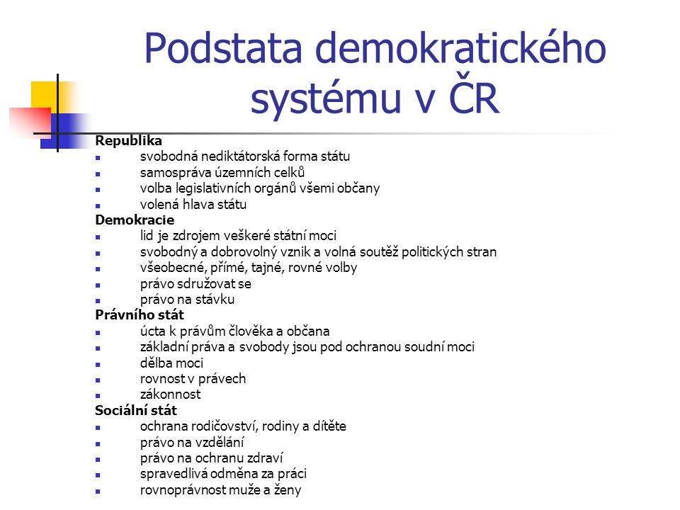 Podstata demokratického systému v ČR