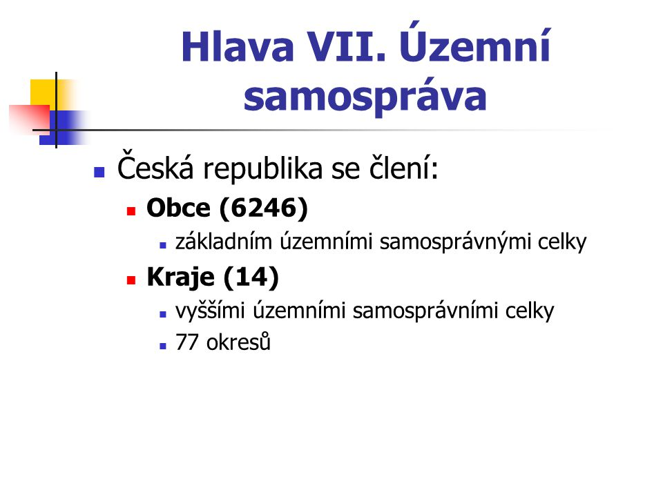 Hlava VII. Územní samospráva