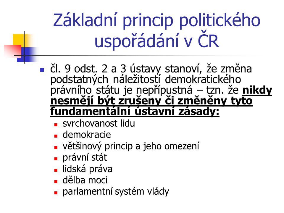 Základní princip politického uspořádání v ČR