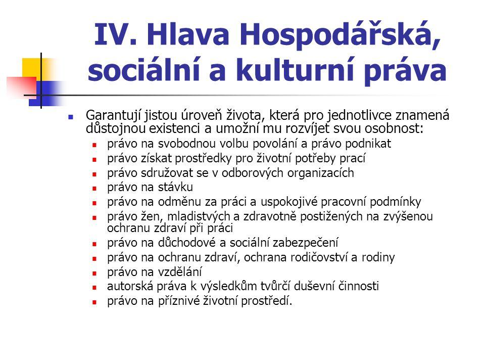 IV. Hlava Hospodářská, sociální a kulturní práva