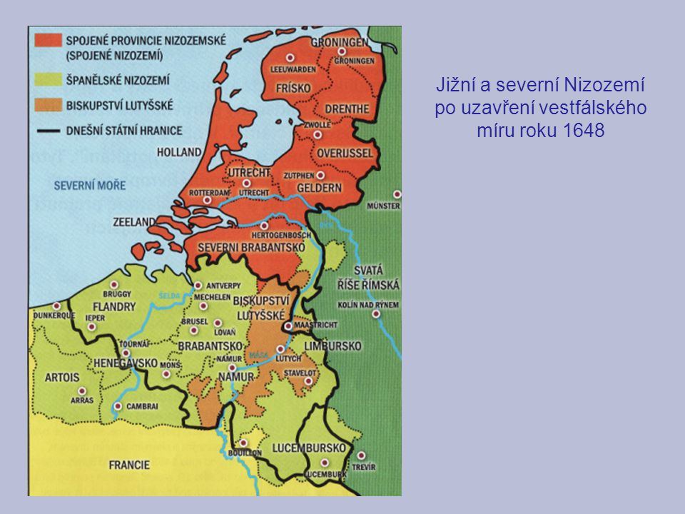 Jižní a severní Nizozemí po uzavření vestfálského míru roku 1648