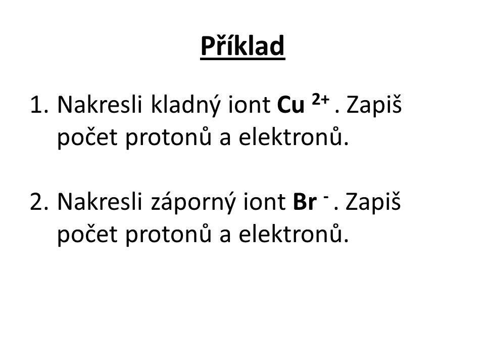 Příklad Nakresli kladný iont Cu 2+ . Zapiš počet protonů a elektronů.