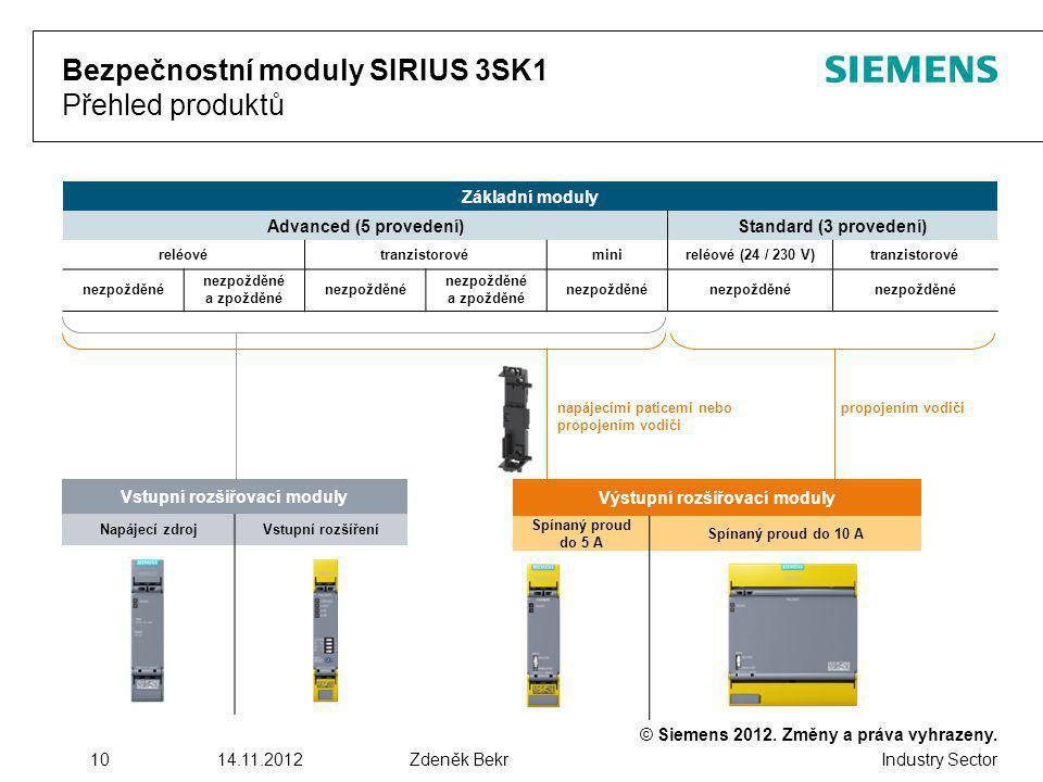 Bezpečnostní moduly SIRIUS 3SK1 Přehled produktů