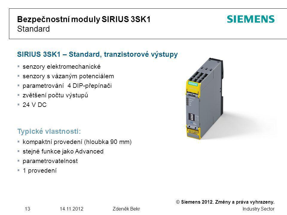 Bezpečnostní moduly SIRIUS 3SK1 Standard