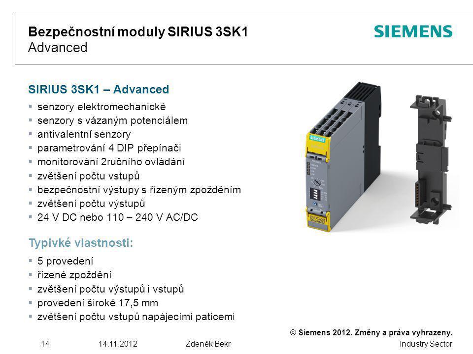 Bezpečnostní moduly SIRIUS 3SK1 Advanced