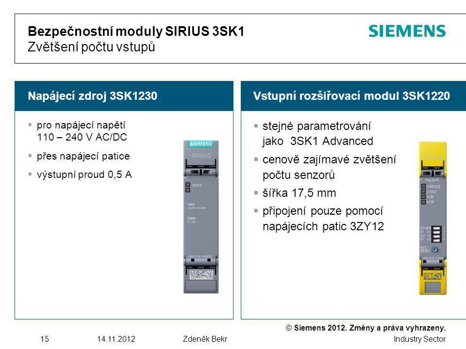 Bezpečnostní moduly SIRIUS 3SK1 Zvětšení počtu vstupů