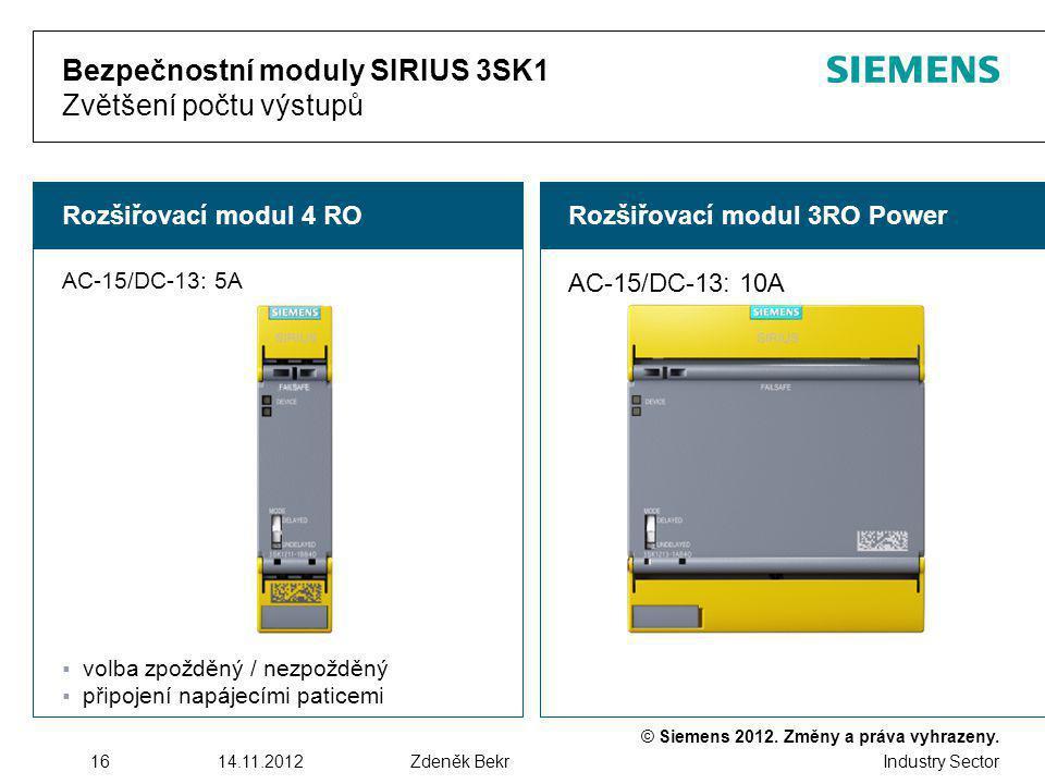 Bezpečnostní moduly SIRIUS 3SK1 Zvětšení počtu výstupů