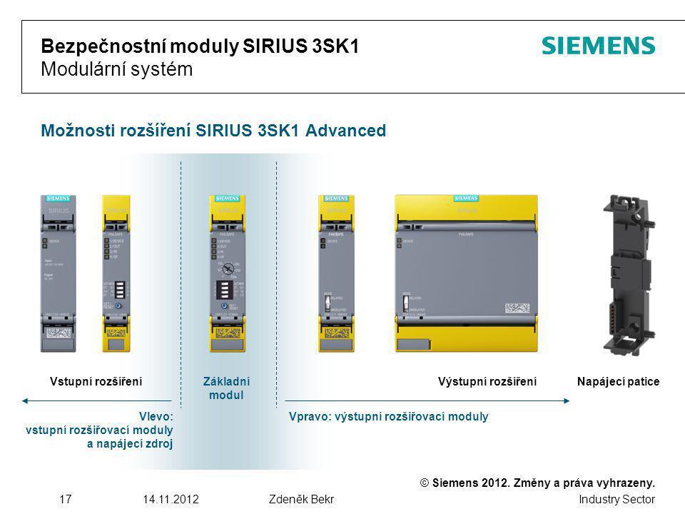 Bezpečnostní moduly SIRIUS 3SK1 Modulární systém