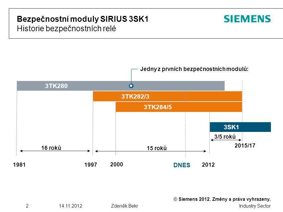 Bezpečnostní moduly SIRIUS 3SK1 Historie bezpečnostních relé
