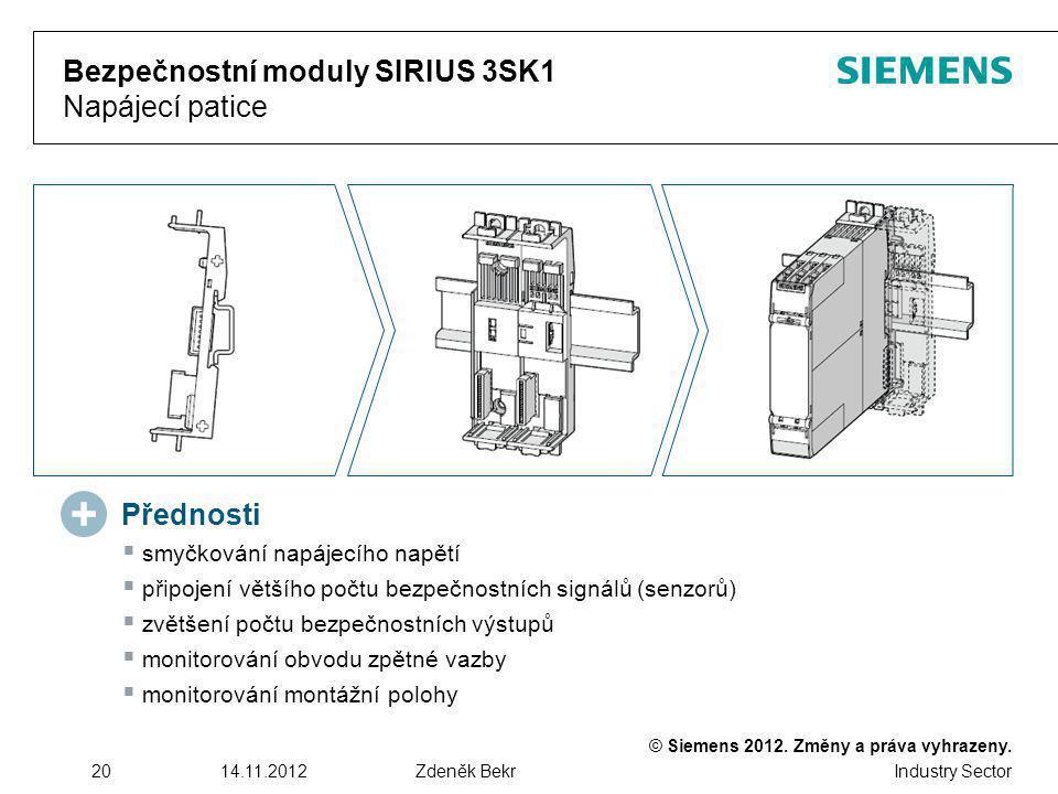 Bezpečnostní moduly SIRIUS 3SK1 Napájecí patice