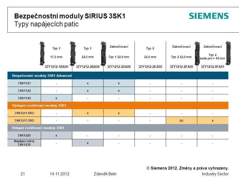 Bezpečnostní moduly SIRIUS 3SK1 Typy napájecích patic