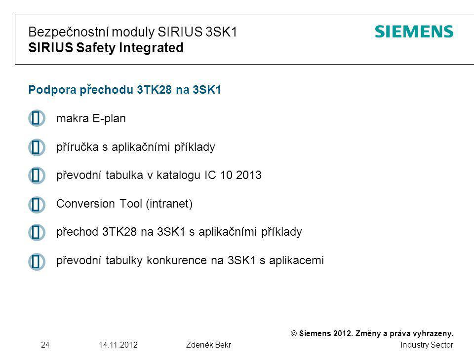 Bezpečnostní moduly SIRIUS 3SK1 SIRIUS Safety Integrated