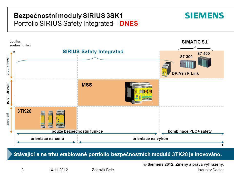 SIRIUS Safety Integrated pouze bezpečnostní funkce