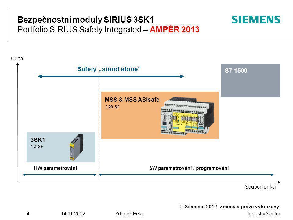 Bezpečnostní moduly SIRIUS 3SK1 Portfolio SIRIUS Safety Integrated – AMPÉR 2013