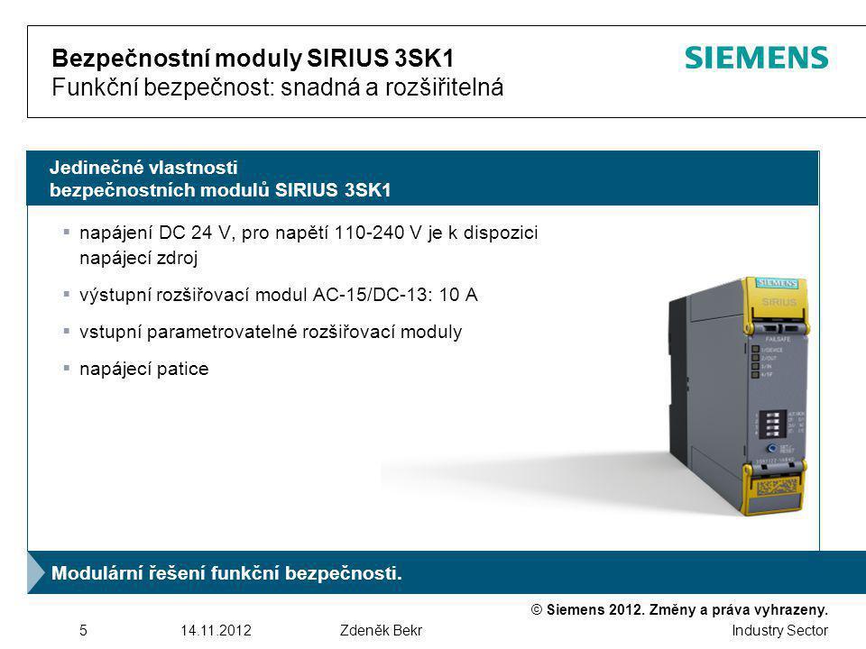 Bezpečnostní moduly SIRIUS 3SK1 Funkční bezpečnost: snadná a rozšiřitelná