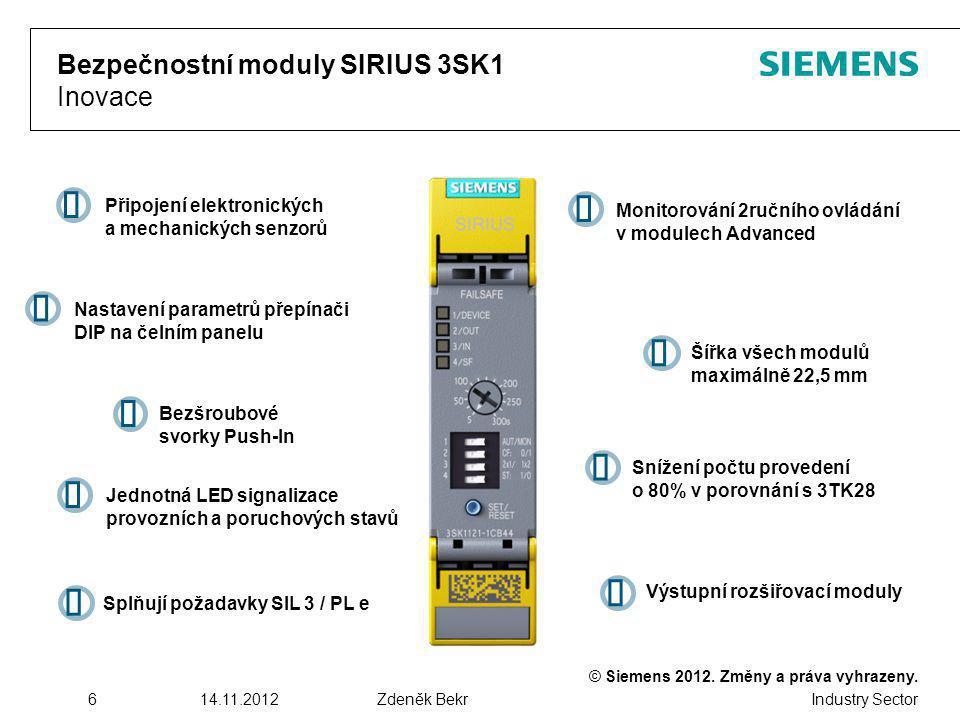 Bezpečnostní moduly SIRIUS 3SK1 Inovace
