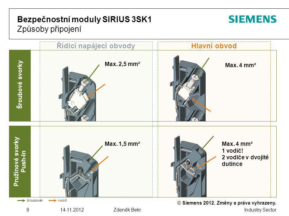 Bezpečnostní moduly SIRIUS 3SK1 Způsoby připojení