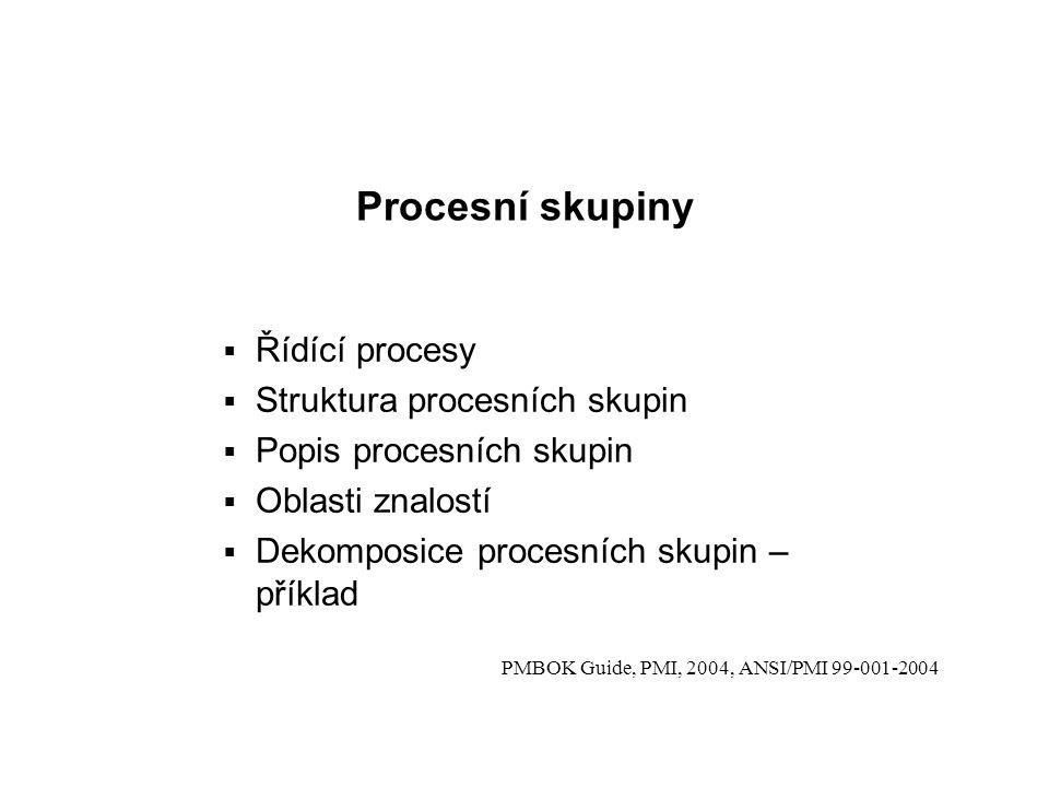 Procesní skupiny Řídící procesy Struktura procesních skupin