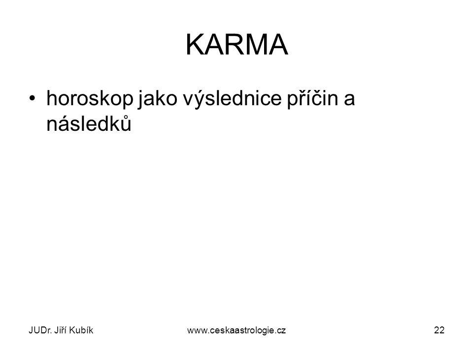 KARMA horoskop jako výslednice příčin a následků JUDr. Jiří Kubík