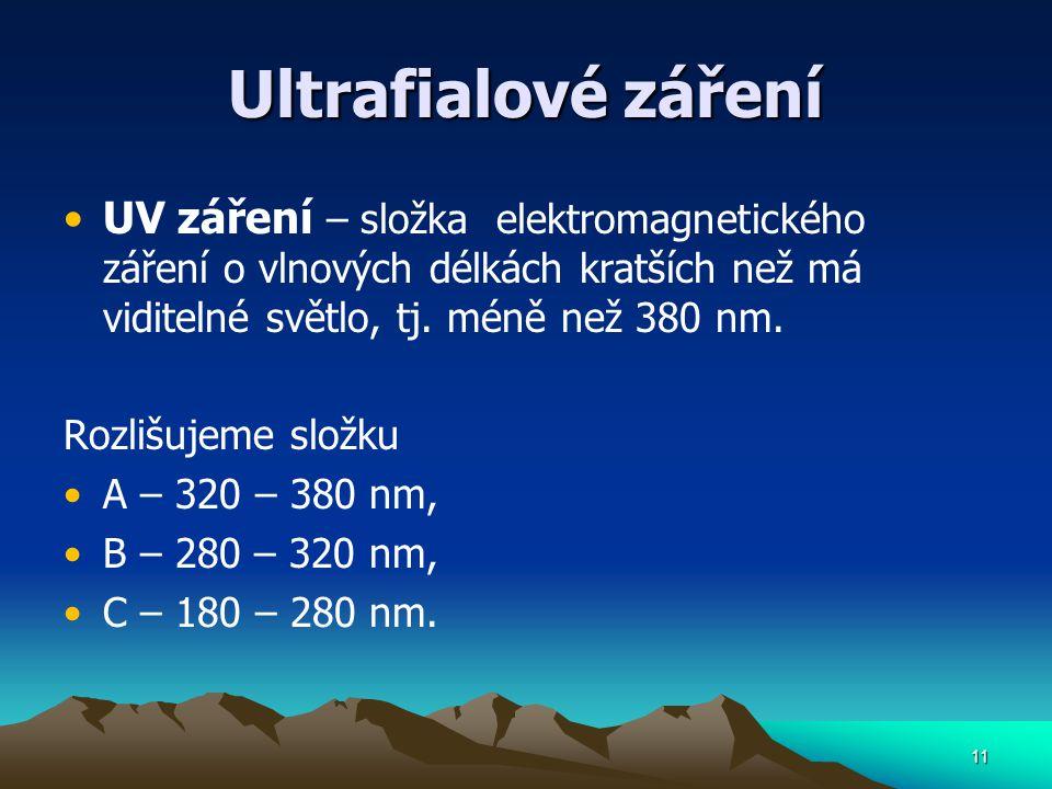 Ultrafialové záření UV záření – složka elektromagnetického záření o vlnových délkách kratších než má viditelné světlo, tj. méně než 380 nm.
