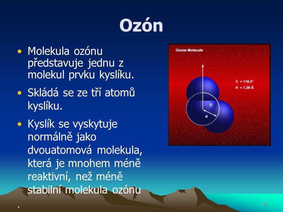 Ozón Molekula ozónu představuje jednu z molekul prvku kyslíku.
