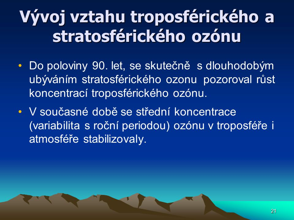 Vývoj vztahu troposférického a stratosférického ozónu