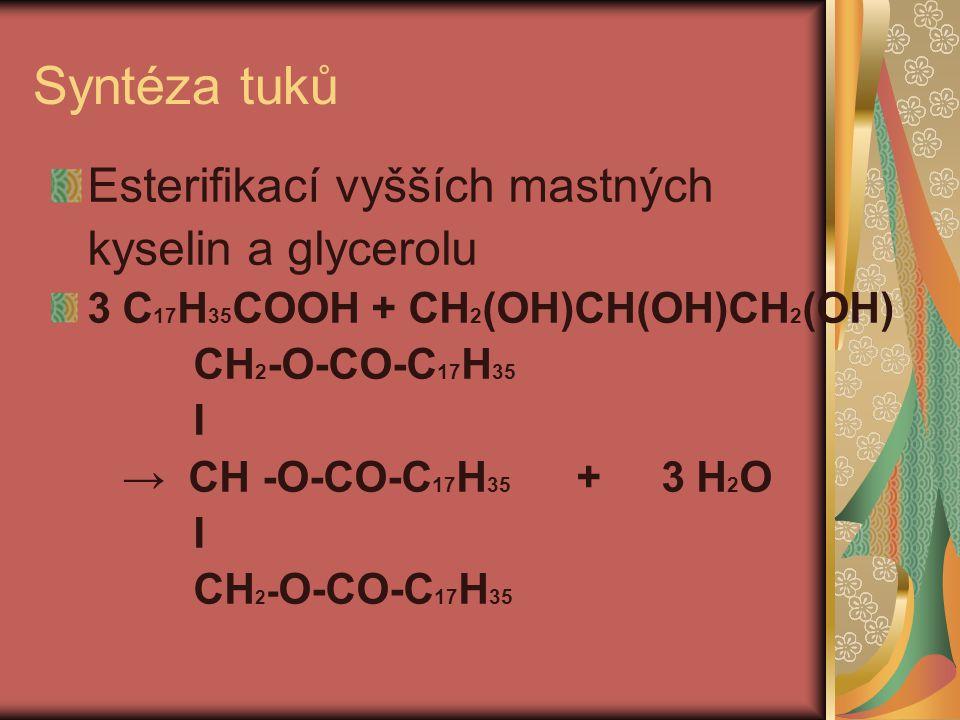 Syntéza tuků Esterifikací vyšších mastných kyselin a glycerolu