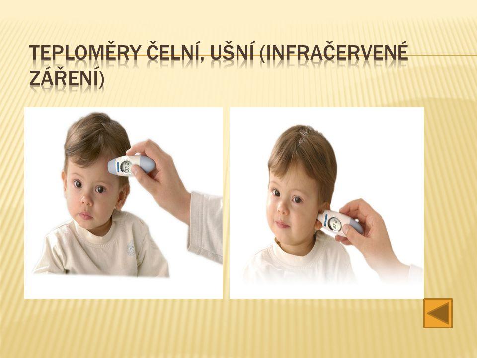 Teploměry čelní, ušní (infračervené záření)