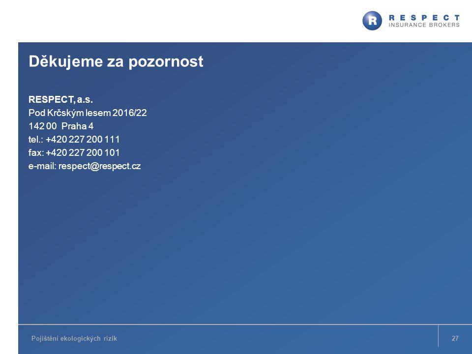 Děkujeme za pozornost RESPECT, a.s. Pod Krčským lesem 2016/22