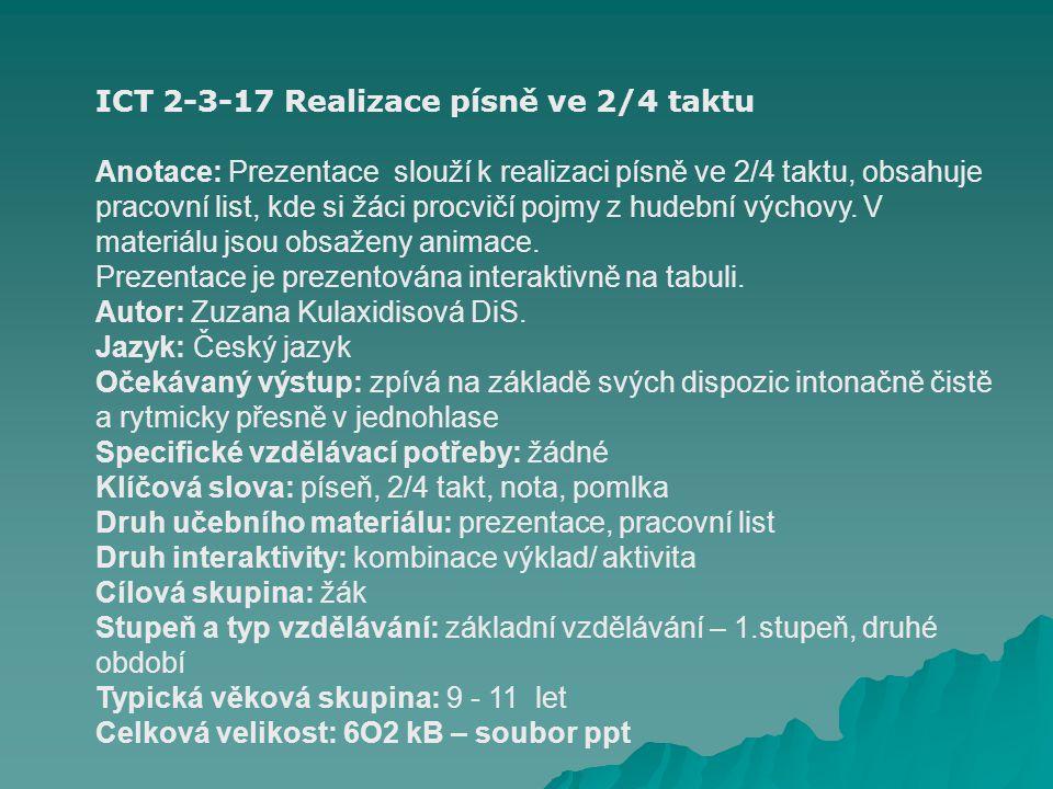ICT 2-3-17 Realizace písně ve 2/4 taktu